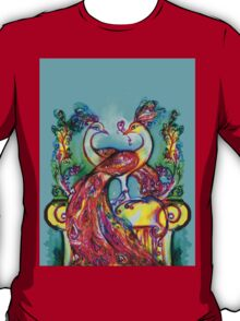 PEACOCKS IN LOVE IN BLUE TURQUOISE T-Shirt