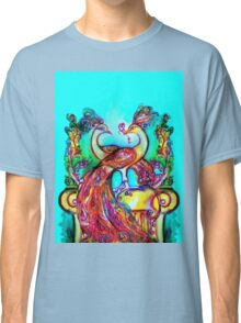 PEACOCKS IN LOVE IN BLUE TURQUOISE Classic T-Shirt
