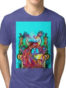 PEACOCKS IN LOVE IN BLUE TURQUOISE Tri-blend T-Shirt
