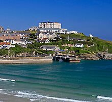 Newquay on a sunny summers day by Len  Pinner