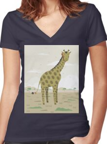 Giraffe in the savanna  Women's Fitted V-Neck T-Shirt