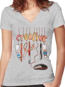 Connected Creative Women's Fitted V-Neck T-Shirt