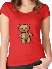 Cute brown teddy bear toy doll Women's Fitted Scoop T-Shirt