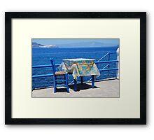 Taverna table, Nisyros Framed Print