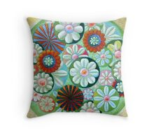 Green Flowers Throw Pillow