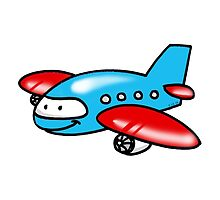 Funny blue airplane cartoon by CuteCartoon