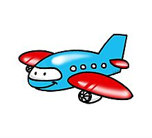 Funny blue airplane cartoon Photographic Print