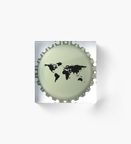 Black world map against bottle cap Acrylic Block
