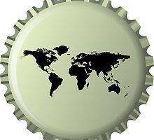 Black world map against bottle cap by Laschon Robert Paul
