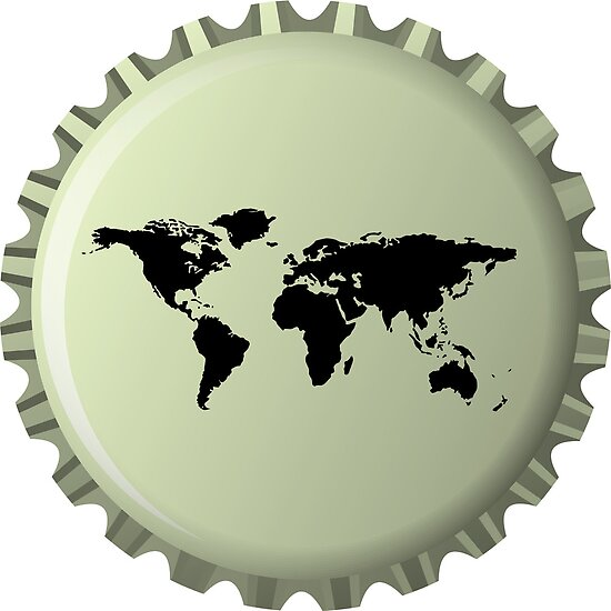 Black world map against bottle cap by Laschon Robert Paul