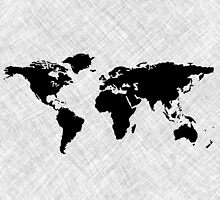 Black world map over grunge stripes by Laschon Robert Paul
