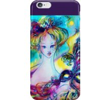 LADY WITH FEATHERED MASK Venetian Masquerade Night iPhone Case/Skin