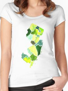 Jersey State Watercolor Women's Fitted Scoop T-Shirt