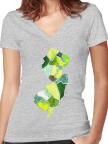 Jersey State Watercolor Women's Fitted V-Neck T-Shirt
