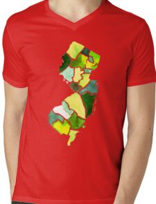 Jersey State Watercolor Mens V-Neck T-Shirt