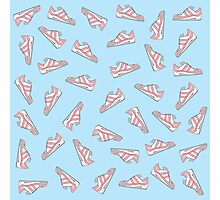 Pink and Blue Cute Sneakers Pattern Photographic Print