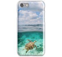 Over Under Shot, Green Sea Turtle iPhone Case/Skin