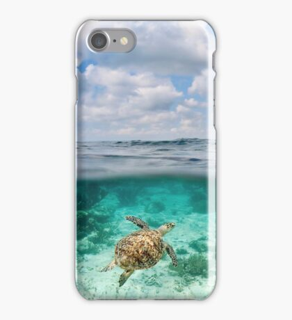 Over Under Shot, Green Sea Turtle iPhone Case/Skin