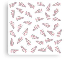 Pink and Gray Cute Sneakers Pattern Canvas Print