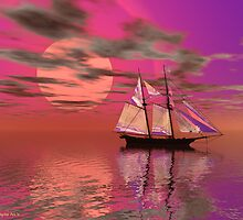 Sailing the Magenta Sea by Sandra Bauser Digital Art