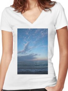 Pale Blues and Feathery Clouds in the Fading Light Women's Fitted V-Neck T-Shirt