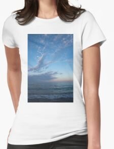 Pale Blues and Feathery Clouds in the Fading Light Womens Fitted T-Shirt