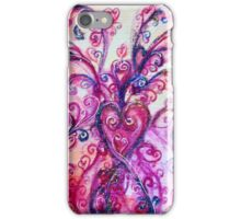 PINK HEART WITH FUCHSIA PURPLE WHIMSICAL FLOURISHES  iPhone Case/Skin