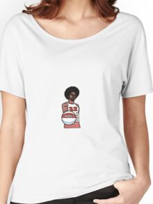"Julius ""Dr. J"" Erving Philadelphia 76ers Cartoon Women's Relaxed Fit T-Shirt"