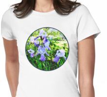 Purple Irises in Suburbs Womens Fitted T-Shirt