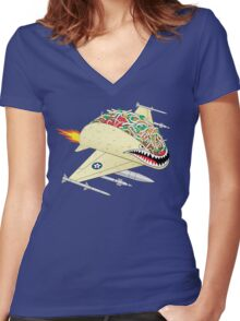 Taco Fighter Jet Women's Fitted V-Neck T-Shirt