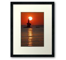 Sunrise at the lighthouse Tourlitis Framed Print