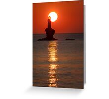 Sunrise at the lighthouse Tourlitis Greeting Card