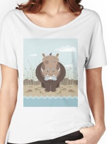 hippo on the banks of a river Women's Relaxed Fit T-Shirt