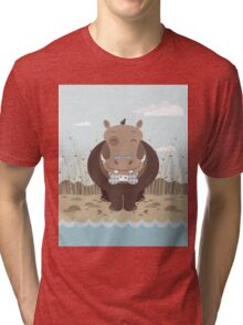 hippo on the banks of a river Tri-blend T-Shirt