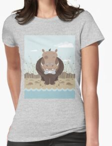 hippo on the banks of a river Womens Fitted T-Shirt