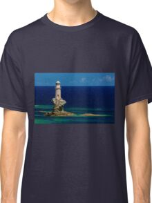Lighthouse Tourlitis in Andros and a seagull Classic T-Shirt