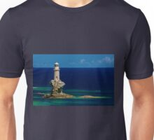 Lighthouse Tourlitis in Andros and a seagull Unisex T-Shirt