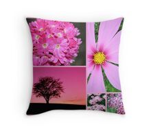 Pretty in Pink Nature Collage Throw Pillow