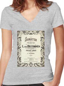 Beethoven's Sonata 1915 Women's Fitted V-Neck T-Shirt