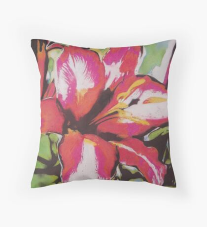 Abstract red Lily flower with leaves pastel art  Throw Pillow