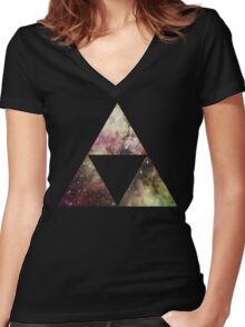 Triforce Galaxy  Women's Fitted V-Neck T-Shirt