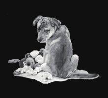 Cute puppy with torn teddy dog realist art  One Piece - Short Sleeve