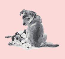 Cute puppy with torn teddy dog realist art  One Piece - Long Sleeve
