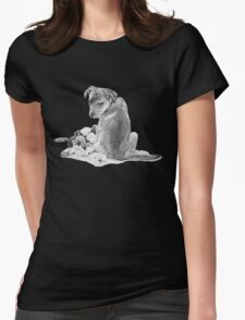 Cute puppy with torn teddy dog realist art  Womens Fitted T-Shirt