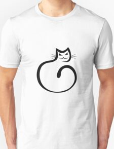 Whimsical Black Cat Vector Illustration T-Shirt
