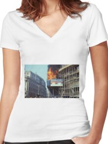 Poll Tax Riots, London 1990 Women's Fitted V-Neck T-Shirt