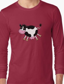 Funny farm dancing cow Long Sleeve T-Shirt
