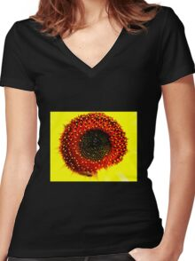 Sunflower with guest Women's Fitted V-Neck T-Shirt