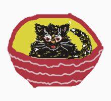 KITTY IN A BASKET BLACK T SHIRT/STICKER by Shoshonan