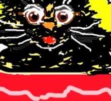 KITTY IN A BASKET BLACK T SHIRT/STICKER Sticker
